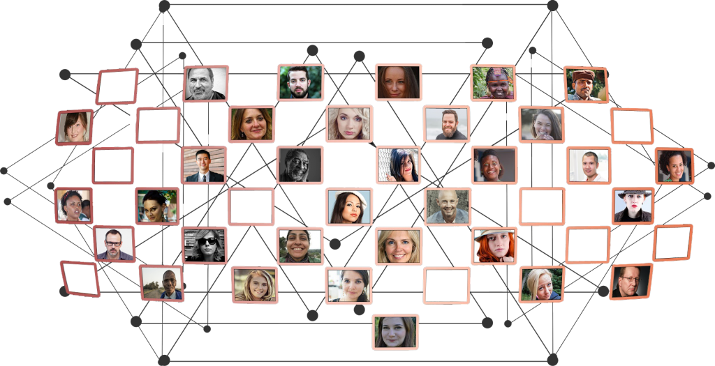 Networking web of pictures and connections